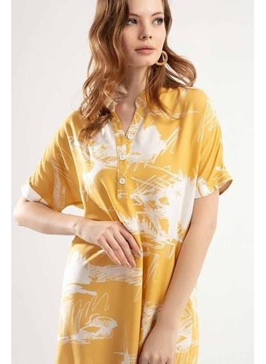 Pattaya Pattaya Kadın Yarım Düğmeli Kısa Kollu Mini Elbise Y20S110-1560 Hardal